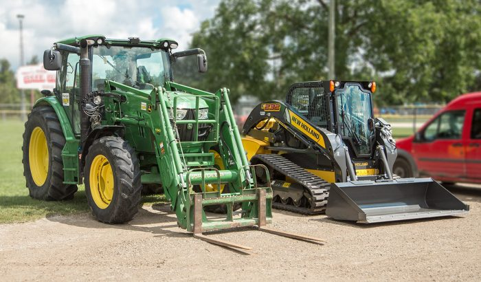 Tractor and Bobcat on display at the Drayton Festival