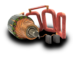 Generator parts, brushes, stator